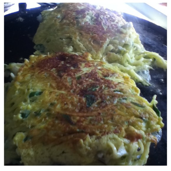 Yellow squash & feta pancakes with parsley, shallots & garlic.