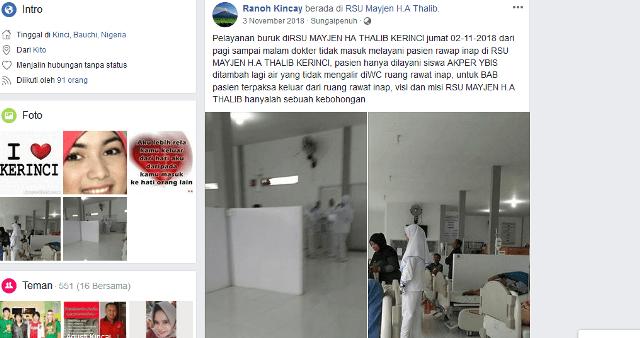 Pelayan Buruk RSU MH Thalib Kerinci