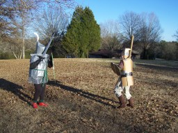 My opponent and I square off. We were paired up since we had the most complete armor and heaviest swords.