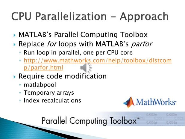 3. Our first test was to try using MATLAB's Parallel Computing Toolbox to run the code on multiple threads on the CPU. This required some code modification and re-arranging such that the data could be manipulated in a manner that fit with the parfor indexing requirement.