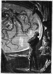 Engraving of Captain Nemo viewing a giant squid from a porthole of the Nautilus submarine, from 20000 Lieues Sous les Mers by Jules Verne. Date 1870 Source This image was originally featured in the Hetzel edition (1870) of 20000 Lieues Sous les Mers, and has also been featured in more recent editions (this particular instance was scanned in from a recent edition).