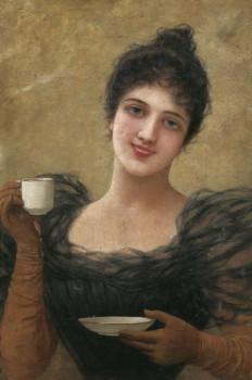 Emile Eisman-Semenowsky (1857-1911): Dame mit Kaffeetasse signed with location Paris Oil on wood, 55 x 37.5 cm