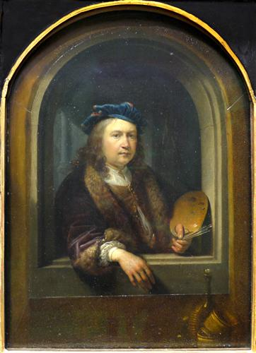 Self-Portrait with a Palette, in a Niche by Gerrit Dou; in the Musee du Louvre in Paris, France. 1655 via WikiArt