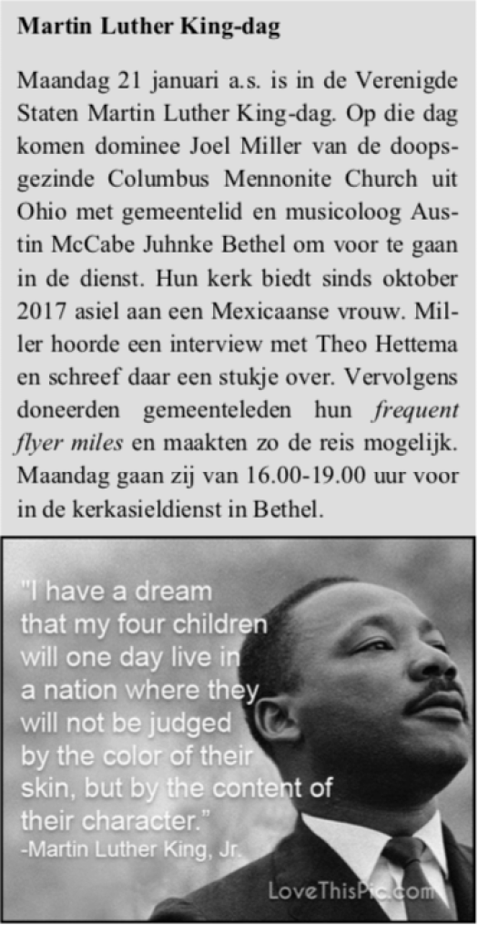 Martin Luther King Day kerkasielBethel