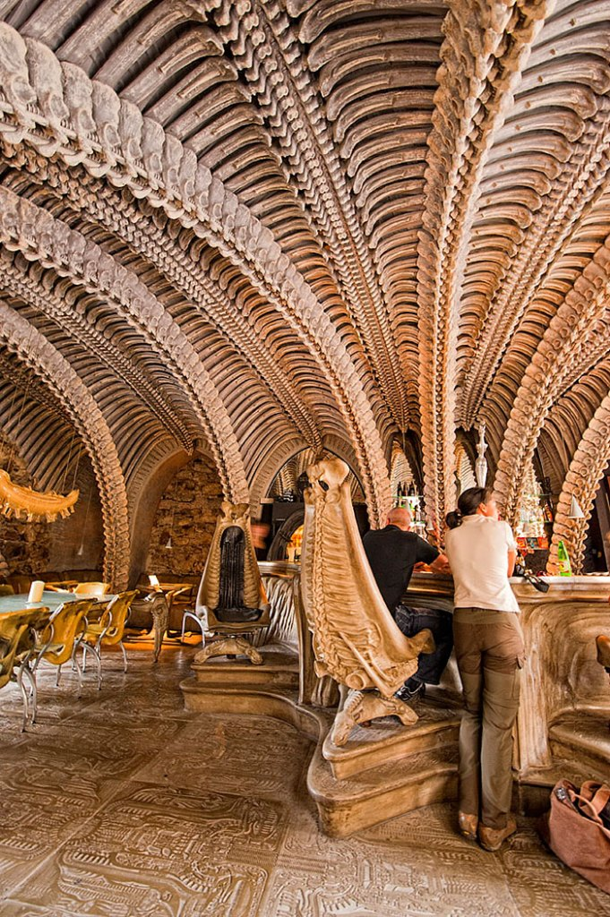 amazing interiors bar cafe Giger Switzerland