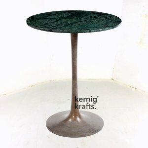 BART62610 Cast Iron Chrome Finish Marble Top Bar Table
