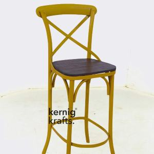 BCHM12703 Wooden Seat Industrial Corss back Bar Chair