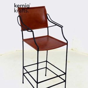 BCHM36097 Leather Upholestry Metal Bar Chair with Handrest