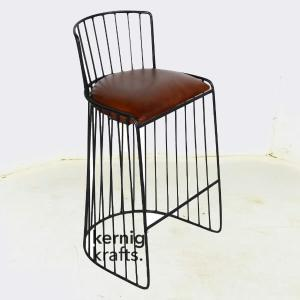 BCHM38511 Minimal Wireframe Leather Upholestry Metal Bar Chair