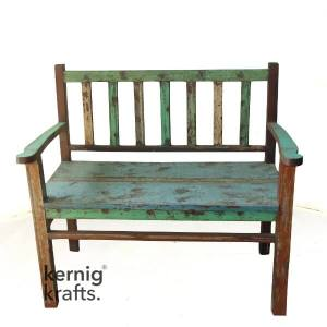 BENC06074 Classic Reclaimed Rustic Solid Wood Natural Bench with Arm Rest