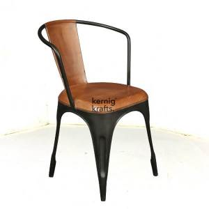 CHAM11093 Leather Cladded Iron MS Steel Stackable Cafe Chair