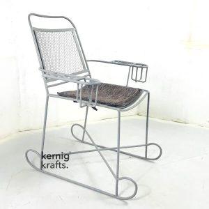 CHAM44294 Industrial Iron Steel Cushion Seat Bistro Chair