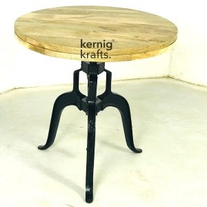 DINT73906 Cast Iron Height Adjustable Mango Wood Top Table