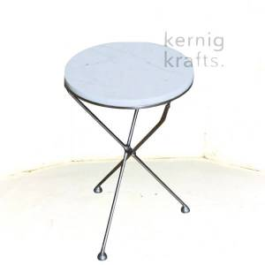 ENDT58281 Electroplated Metal with Marble Top End Table