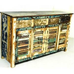 SDBA16660 Hand Carved Reclaimed Wood Rustic Sideboard Service Station