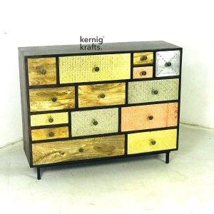 SDBA37206 Eclectic Solid Wood Modern Metal Cladded Sideboard