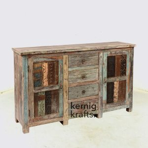SDBA71240 Hand Carved Reclaimed Wood Rustic Sideboard