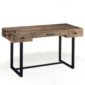 STTB20718 Aara Finish Mango Wood Rustic Industrial Study Table