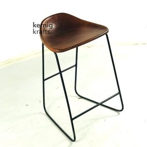 STUB97652 Modern Leather Seat Metal Wireframe Bar Stool