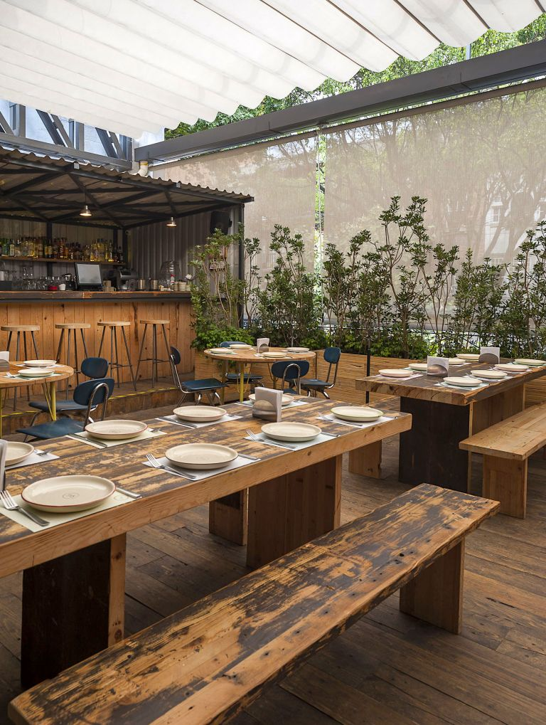 reclaimed wood dining tables sun shade roof