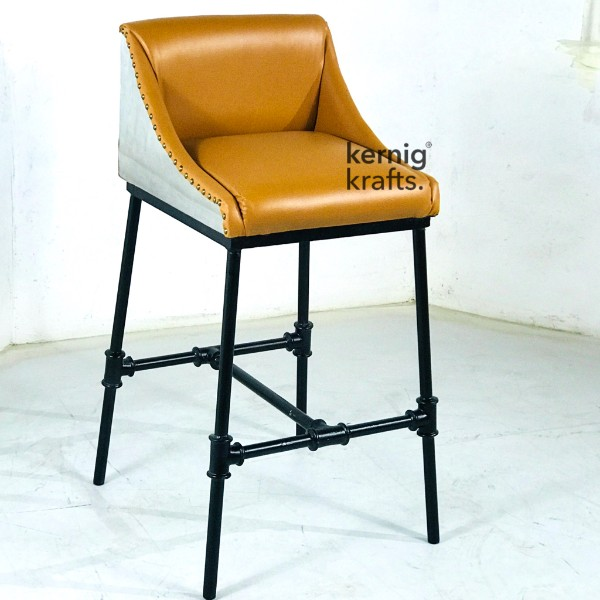 BCHM55015 GI Pipe Frame Bar Chair With Leather Seat and Meta Back