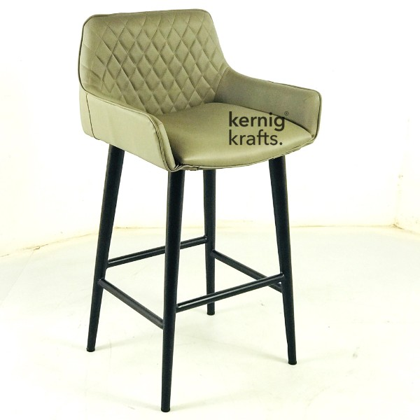 BCHM66438 Modern Leatherette Bar Chair with Diamond Tufted Back Brown