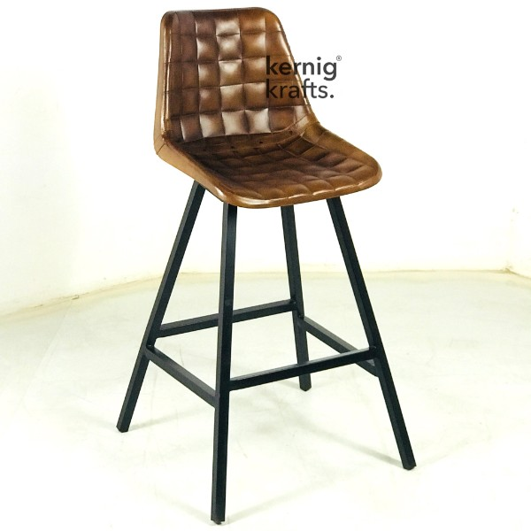 BCHM86608 Industrial Leatherette Bar Chair with Square Tufted Back Brown