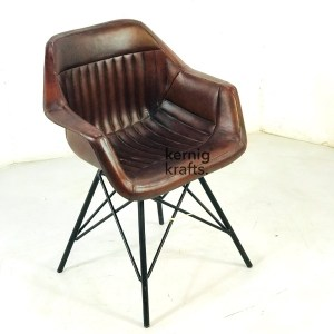 CHAM97708 Leather Cladded Industrial Tub Chair
