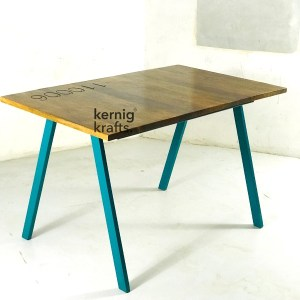 DINT37419 Cafe Table With Rosewood Top and Metal Leg