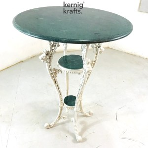 ENDT70560 Cast Iron Base End Table with Stone Top