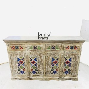 SDBA10579 White Wash Mango Wood Sideboard With Hand Carving and Tile Work