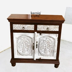 SDBA46477 Duco Finish Front Mango Wood Sideboard With Hand Carving