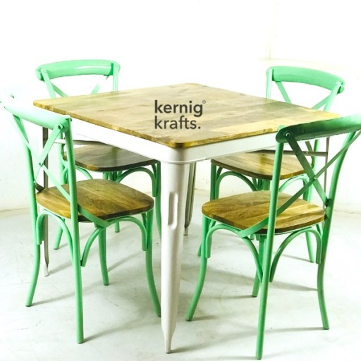 SETD23842 Rustic Chair Table Industrial Dining Set for Bar