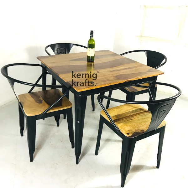 SETD68907 Rustic Chair Table Industrial Dining Set for Cafe and Bistro