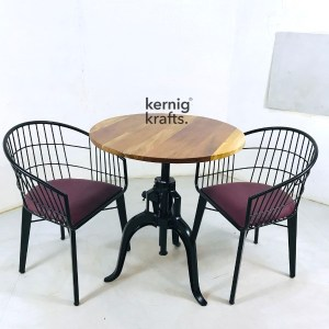 SETD80701 Cast Iron Table Chair Industrial Dining Set for Bar