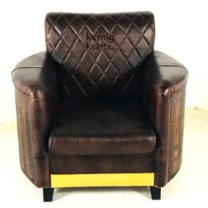 SOFA34294 Diamond Tufted Classic Vintage Pure Leather Sofa