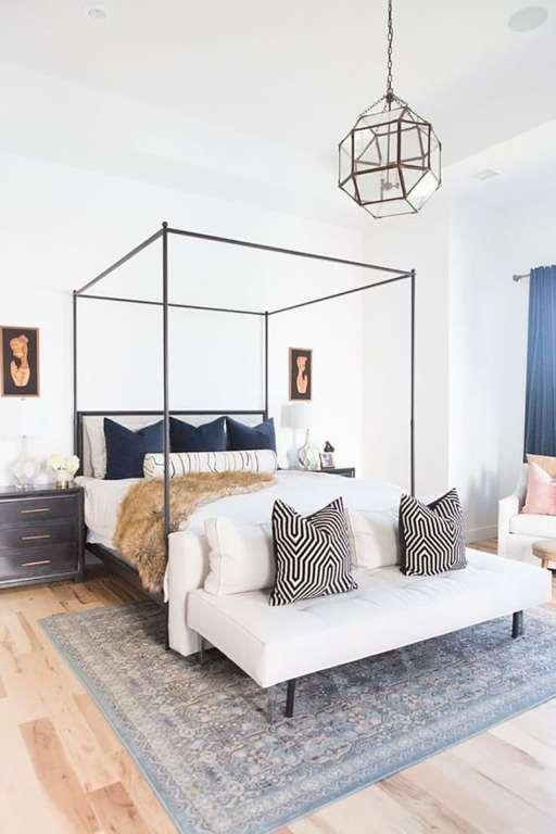 Four Poster metal bed minimal sleek