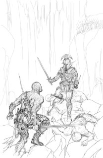 Couverture crayonnée de la couverture des Kerns de l'Oubli, Julien Delval