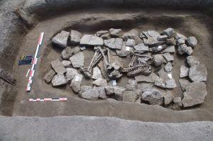 Archéo, Z4 nécropole , structure 4294, vers le sud, décapage 12 sépulture individu C bronze