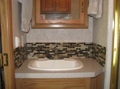 Bathroom backsplash and faucet