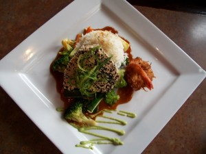 Hawaiian Sesame Crusted Halibut with Coconut Prawn