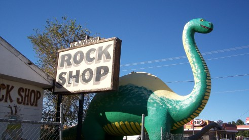 Dinosaur at a rock shop in Arizona