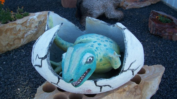 Cute dinosaur baby sculpture in Arizona