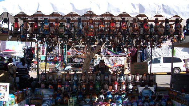 One of many vendors in Algodones, Mexico.