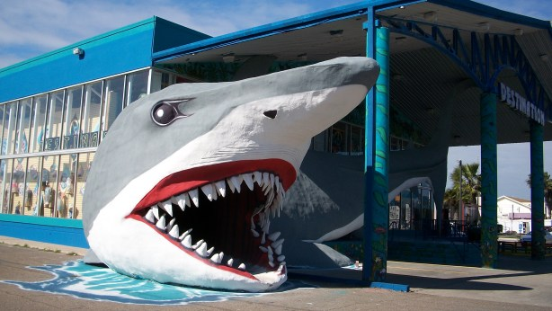 "Giant Shark Door Sculpture in Port A. I think the store is called ""Destination""."