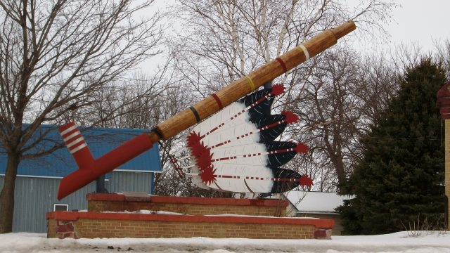 The giant Peace Pipe in Pipestone, MN.