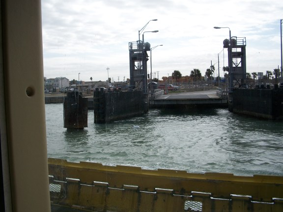 Pulling into the dock in Port A.
