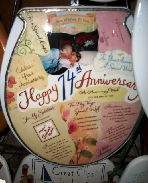 Barney is devoted to his wife. and creates a toilet seat for each anniversary.