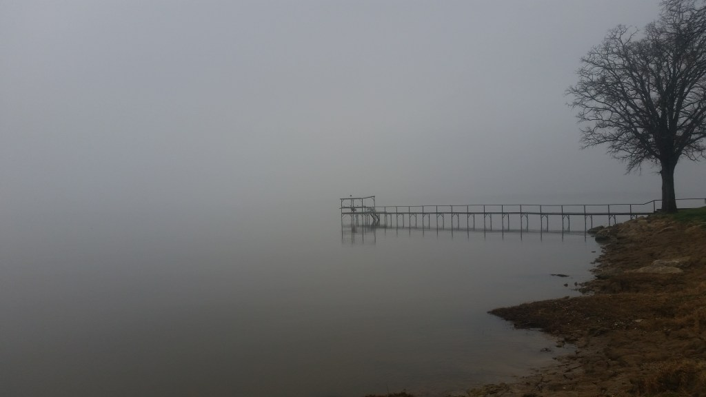 A foggy day on the lake.