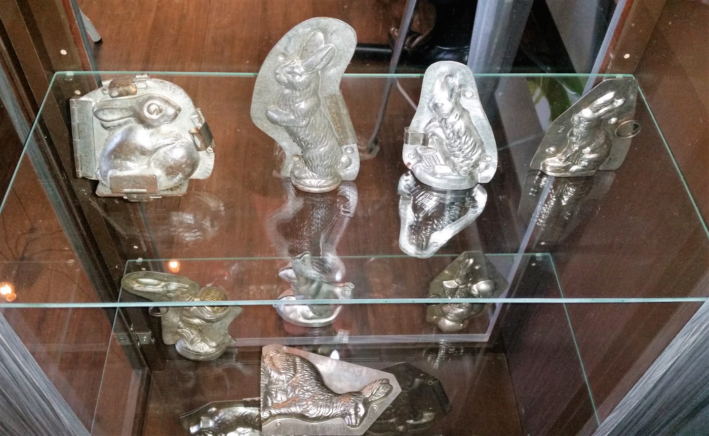 Display of chocolate molds in a coffee shop near Piqua, Ohio.